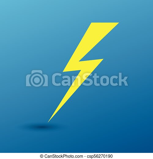 Lightning flat icons set  Simple icon storm or thunder and lightning strike  on blue background