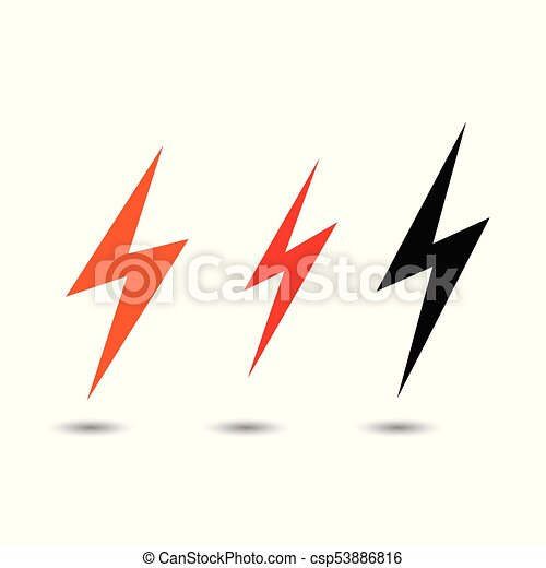 Lightning flat icons set  Simple icon storm or thunder and lightning strike  isolated
