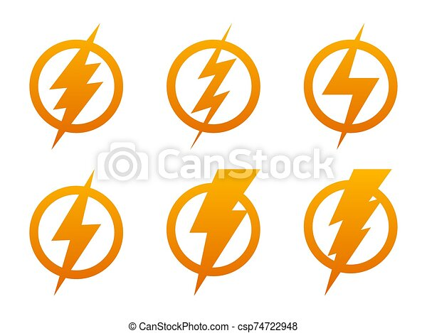 lightning icons vector set of lightning icons vector lightning in circle yellow electric power logo design element can stock photo