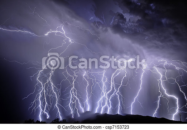 Lightning over the Rincon Mountains - csp7153723