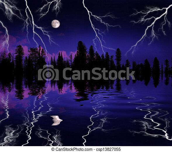Lightning Storm in Wilderness - csp13827055