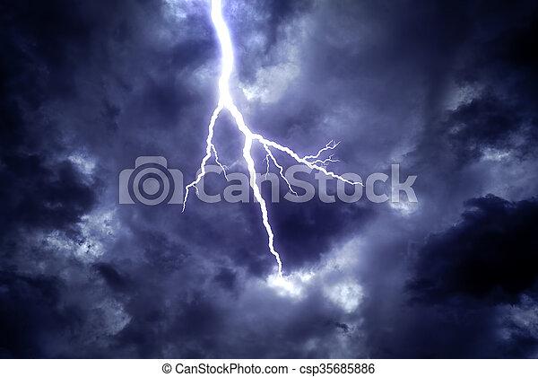 Lightning strike in the sky. - csp35685886