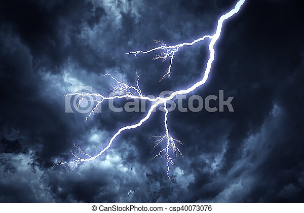 Lightning strike on the sky. - csp40073076