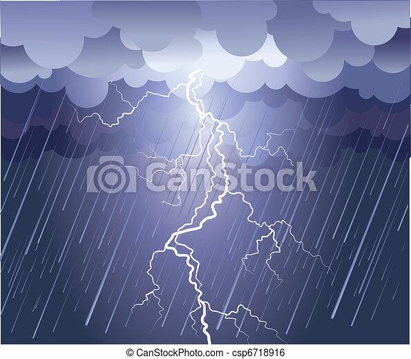 Lightning strike. Vector rain image with dark clouds - csp6718916