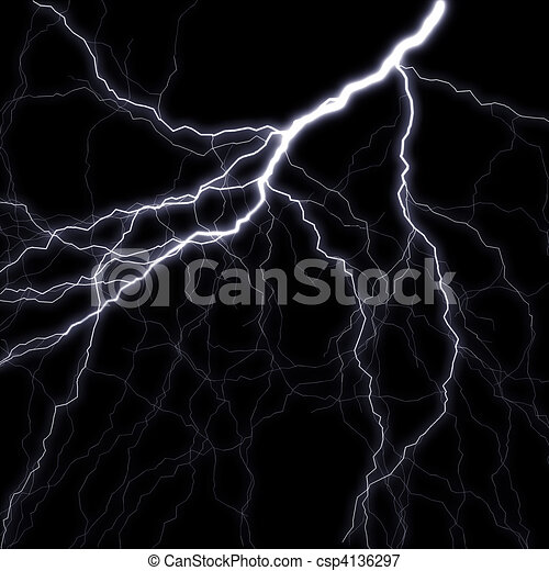 Lightning stroke in the night sky. A raster illustration - csp4136297