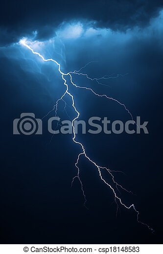 Lightning with dramatic cloudscape - csp18148583