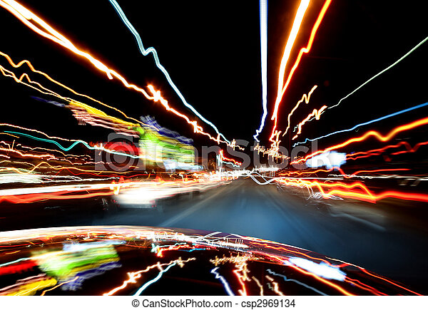Lights of traffic in-car - csp2969134