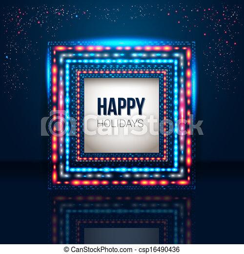 Un marco de fiesta universal hecho de luces. - csp16490436