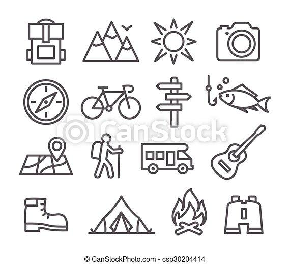 ligne, camping, icônes - csp30204414