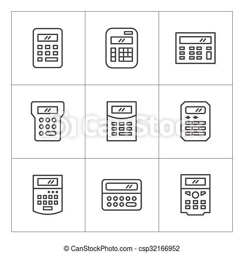 ligne, ensemble, calculatrice, icônes - csp32166952