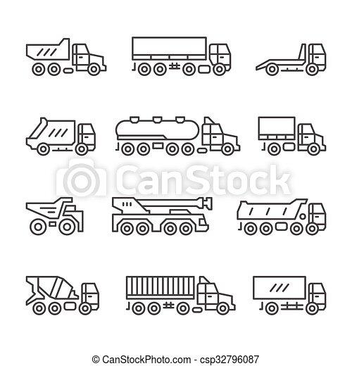 ligne, ensemble, camions, icônes - csp32796087