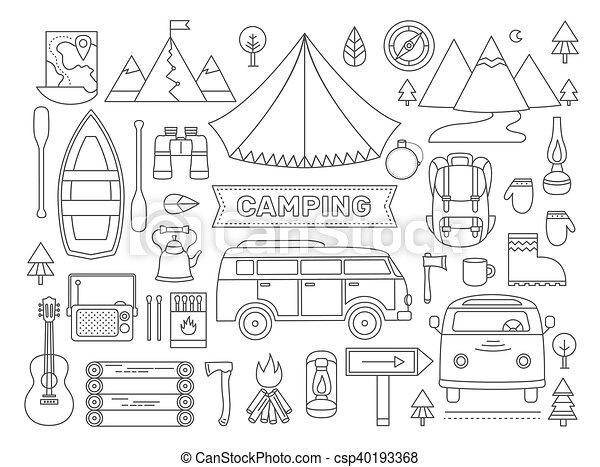 ligne, ensemble, camping, icônes - csp40193368