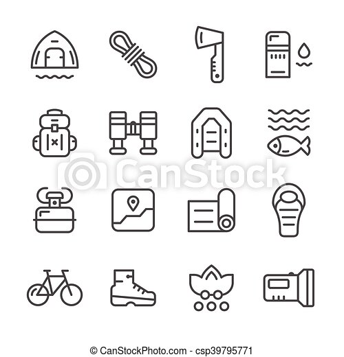 ligne, ensemble, camping, icônes - csp39795771
