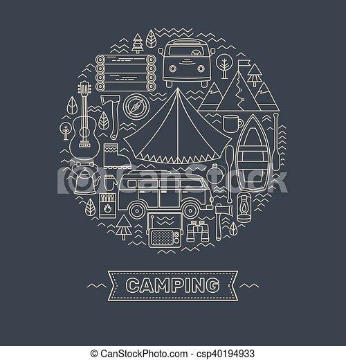 ligne, ensemble, camping., icônes - csp40194933