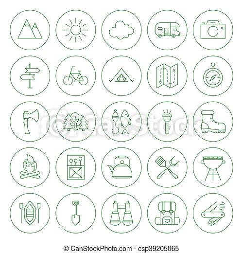 ligne, ensemble, cercle, camping, icônes - csp39205065