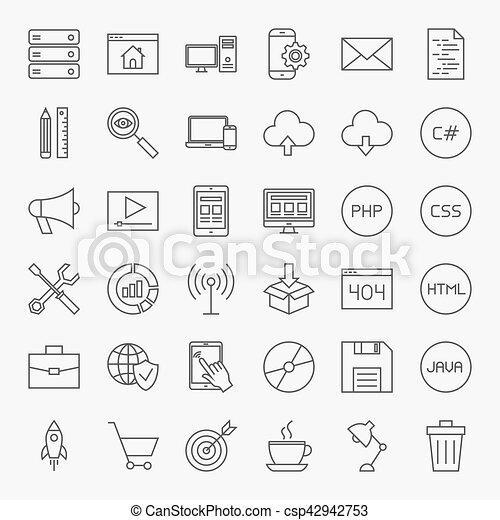 ligne, ensemble, codage, icônes - csp42942753