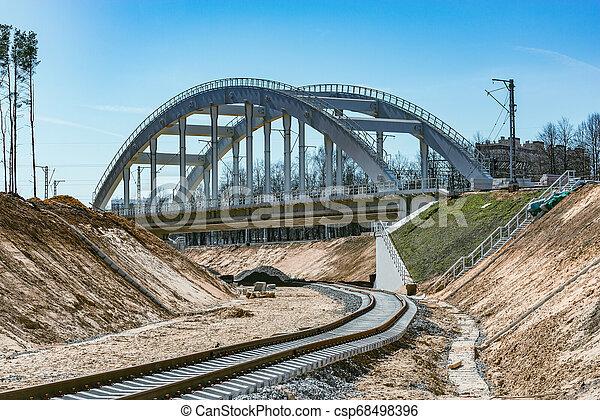 ligne., ferroviaire, site construction, nouveau - csp68498396