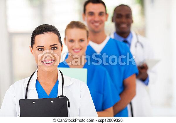 ligne, ouvriers, groupe, haut, healthcare - csp12809328