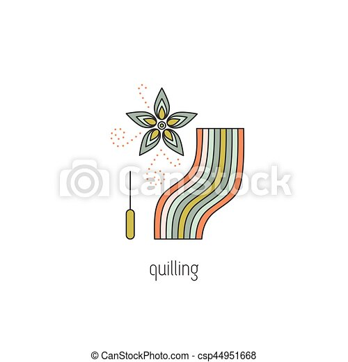 Ligne Quilling Icone Fleur Simple Moderne Logo Design Ou