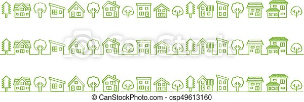 Ligne Simple Maison Image Arbre écologique Rugueux Dessin