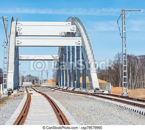 ligne., site, ferroviaire, construction, nouveau - csp79579960