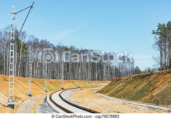 ligne., site, ferroviaire, construction, nouveau - csp79578883