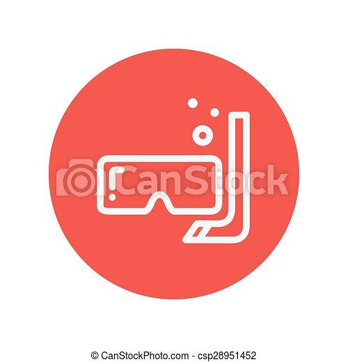 ligne, snorkel, masque, mince, icône - csp28951452