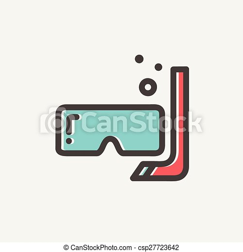 ligne, snorkel, masque, mince, icône - csp27723642