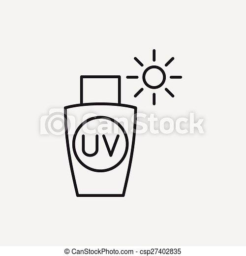 ligne, sunscreen, icône - csp27402835