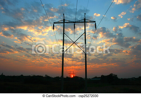 ligne transmission, coucher soleil, puissance - csp25272030