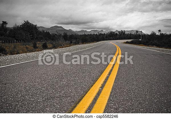 lijn, gele, delen, snelweg - csp5582246
