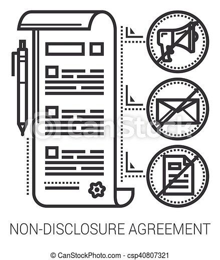 lijn, niet-onthulling, overeenkomst, icons. - csp40807321