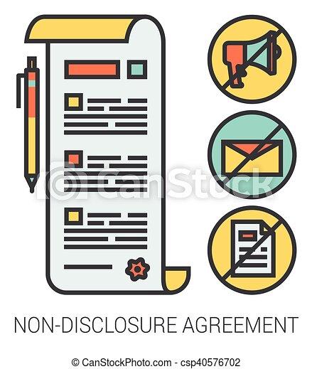 lijn, niet-onthulling, overeenkomst, icons. - csp40576702