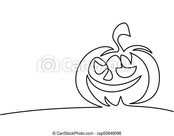 Halloween Tekeningen Pompoen.Lijn Voortdurend Halloween Tekening Pompoen