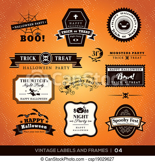 lijstjes, ouderwetse , etiketten, halloween - csp19029627