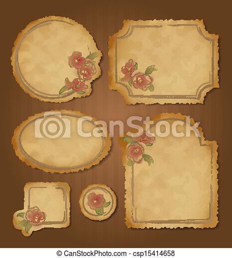 lijstjes, retro, floral, set, ouderwetse  - csp15414658