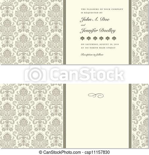 lijstjes, vector, damast, trouwfeest - csp11157830