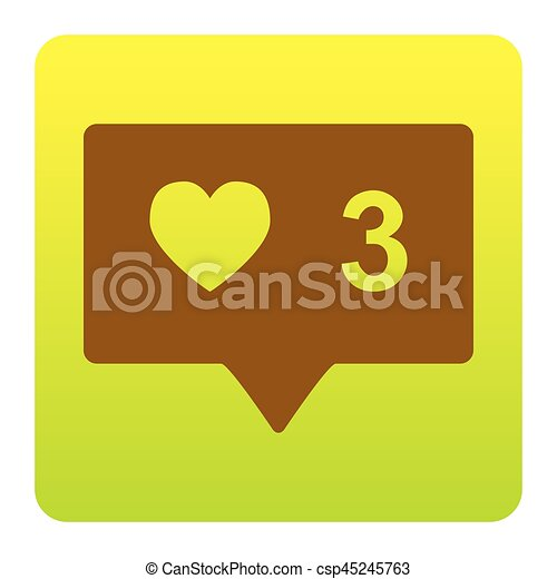 Like and comment sign. Vector. Brown icon at green-yellow gradient square with rounded corners on white background. Isolated. - csp45245763