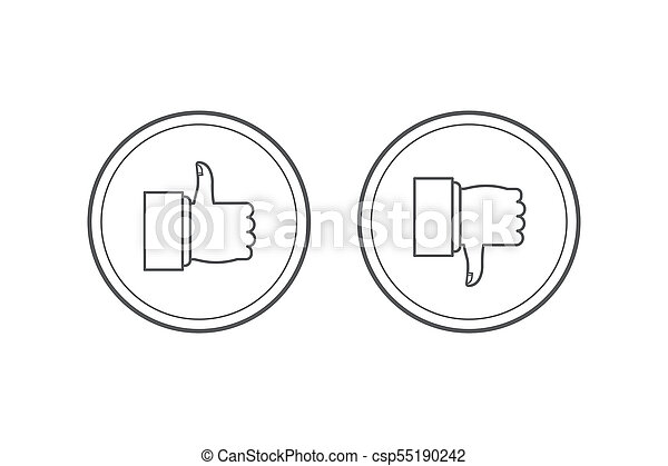 Like and dislike icons set. Thumbs up and thumbs down. Modern graphic elements for web banners, web sites, printed materials, infographics. round thin line icons isolated on white background. - csp55190242