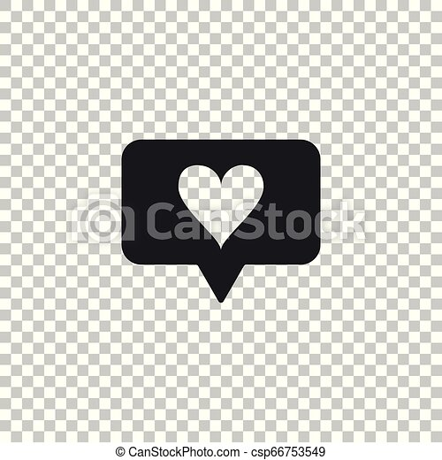 Like and heart icon isolated on transparent background  Counter  Notification Icon  Follower Insta  Flat design  Vector Illustration