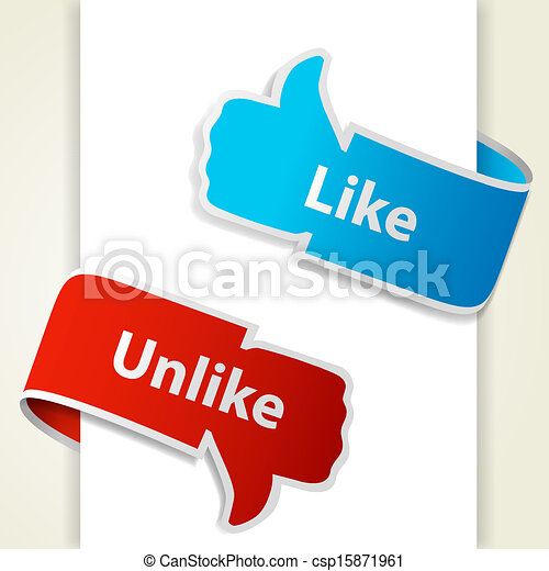 Like and unlike icons. Thumb up and thumb down signs for blogs and websites. Vector eps10 illustration - csp15871961