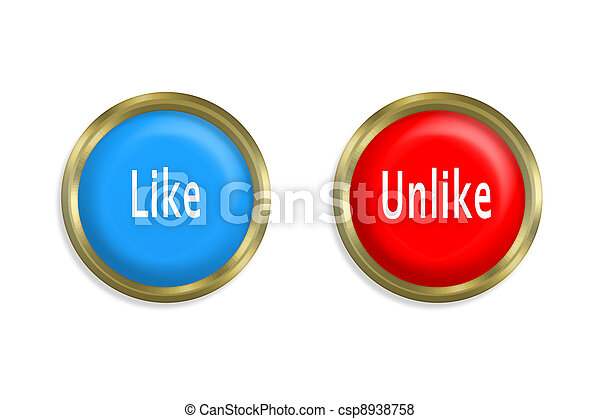 Like button and red on white background - csp8938758