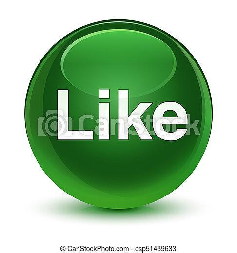 Like glassy soft green round button - csp51489633