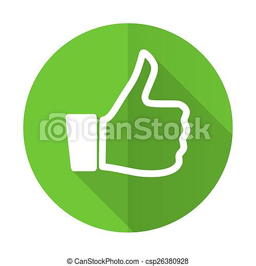 like green flat icon thumb up sign - csp26380928