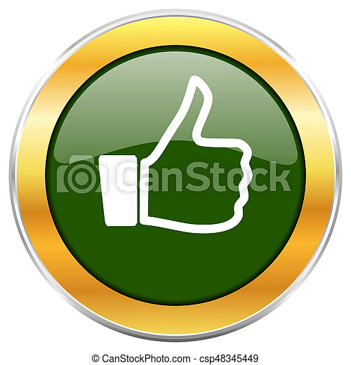 Like green glossy round icon with golden chrome metallic border isolated on white background for web and mobile apps designers. - csp48345449
