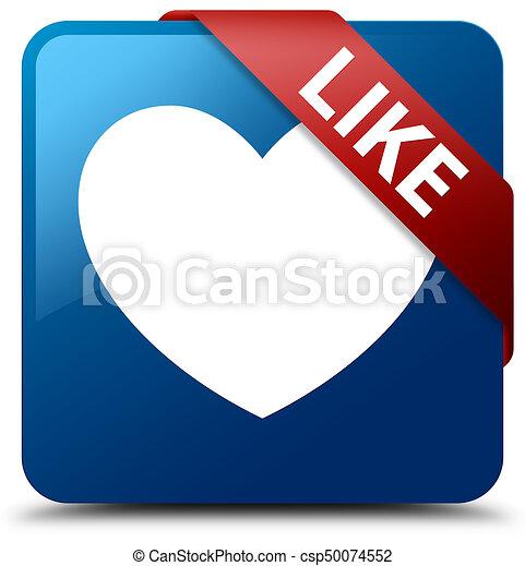 Like (heart icon) blue square button red ribbon in corner - csp50074552