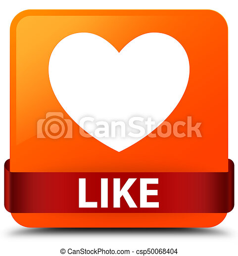 Like (heart icon) orange square button red ribbon in middle - csp50068404