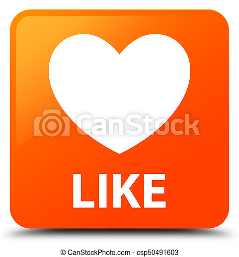 Like (heart icon) orange square button - csp50491603
