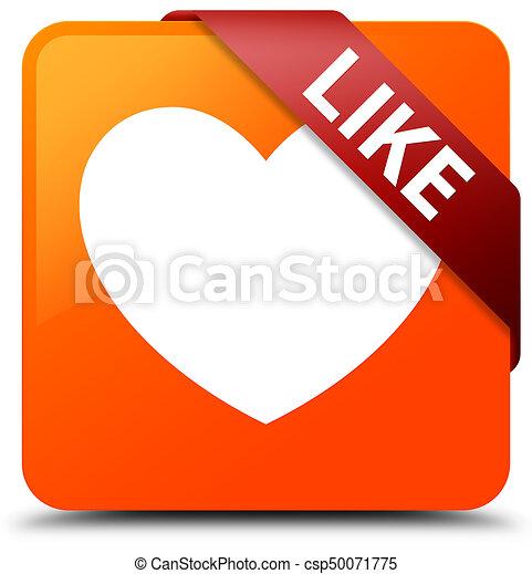 Like (heart icon) orange square button red ribbon in corner - csp50071775