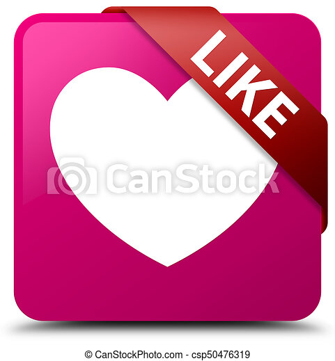 Like (heart icon) pink square button red ribbon in corner - csp50476319